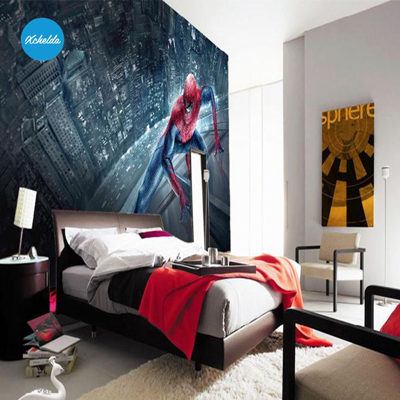 XCHELDA 3D Mural Wallpapers Custom Painting Spiderman Design Background Bedroom Living Room Wall Murals Papel De Parede custom 3d wall murals wallpaper luxury silk diamond home decoration wall art mural painting living room bedroom papel de parede