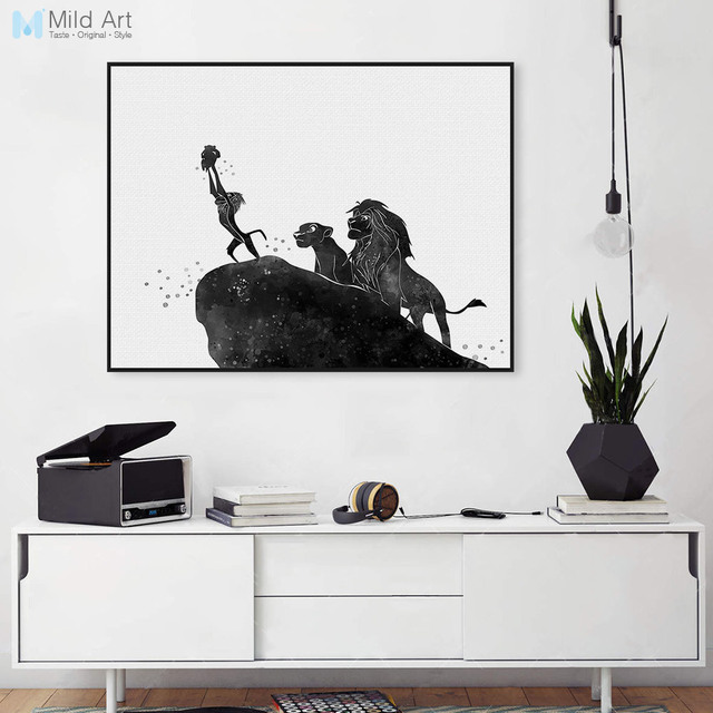 Pop movie poster lion king cartoon canvas black white large art print poster no frame wall