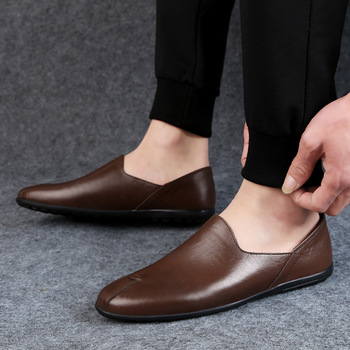 New Men Leather Shoes Casual Breathable Slip on Mens Loafers Black Business Shoes Soft Driving