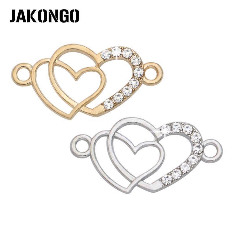 JAKONGO Silver Plated Crystal Double Heart Love Connectors for Jewelry Making Bracelet Findings Accessories DIY Craft 5pcs/lot детская футболка классическая унисекс printio i love you beary much