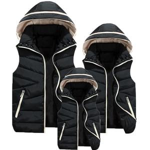 Image 2 - Inverno ragazzi ragazze gilet bambini gilet con cappuccio in pelliccia gilet per bambini famiglia capispalla cappotti gilet causale genitore figlio
