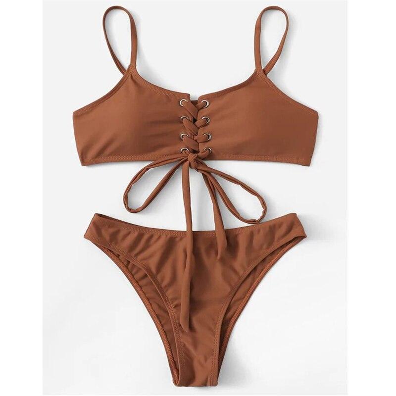 Sexy Two Pieces Bikini Set Women Lace Up High Leg Bikini Swimwear Brown Bathing Swimming Suit For Women 2019 Biquini Feminino