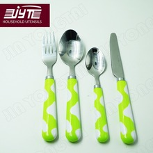 24 pcs/set children's tableware stainless steel plastic tableware green handle portable cutlery set fork spoon knife quality