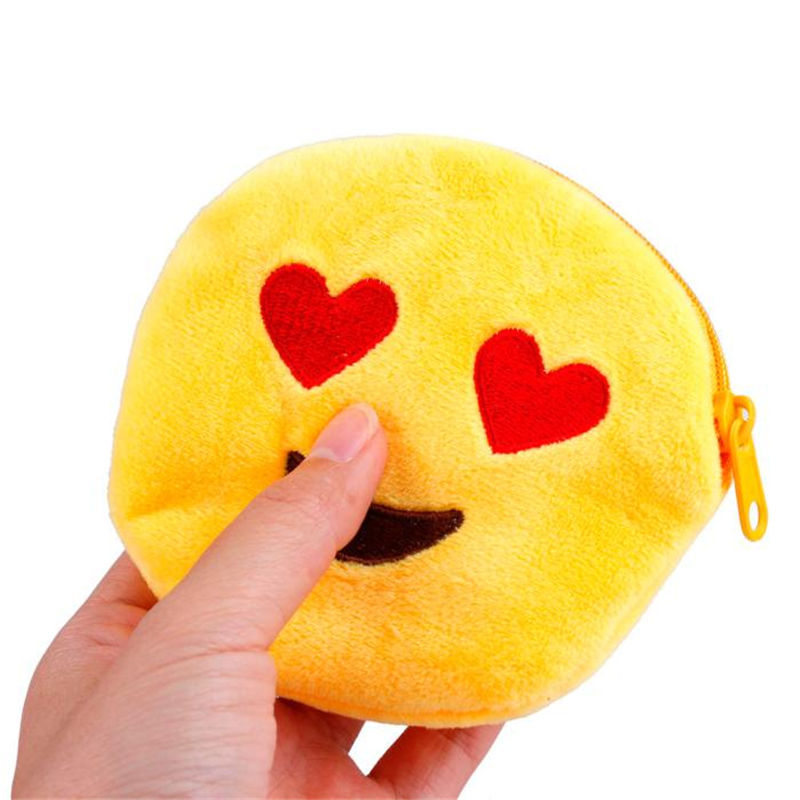 2016 Cute Style Novelty Emoji Smile Zipper Plush Coin Purse Kawaii Children Bag Women Wallets Mini Change Pouch Bolsa 10 Styles new 2016 cartoon cute minions dave bob plush coin change purse zipper mini children bag women wallets girl for christmas gift