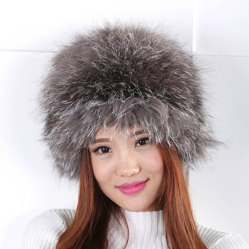 ФОТО Knitted Real Fox Fur Hats Women Luxury New Female Bomber Hat Fluffy Genuine Fox Fur Bomber Hat for Winter