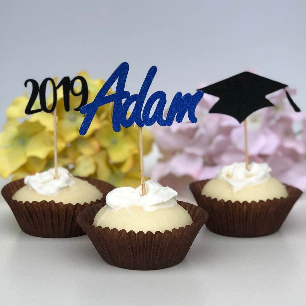 Us 12 34 5 Off Personalized Name 2019 Graduation Cupcake Toppers Kindergarten High School Celebration Decorations In Cake Decorating Supplies From
