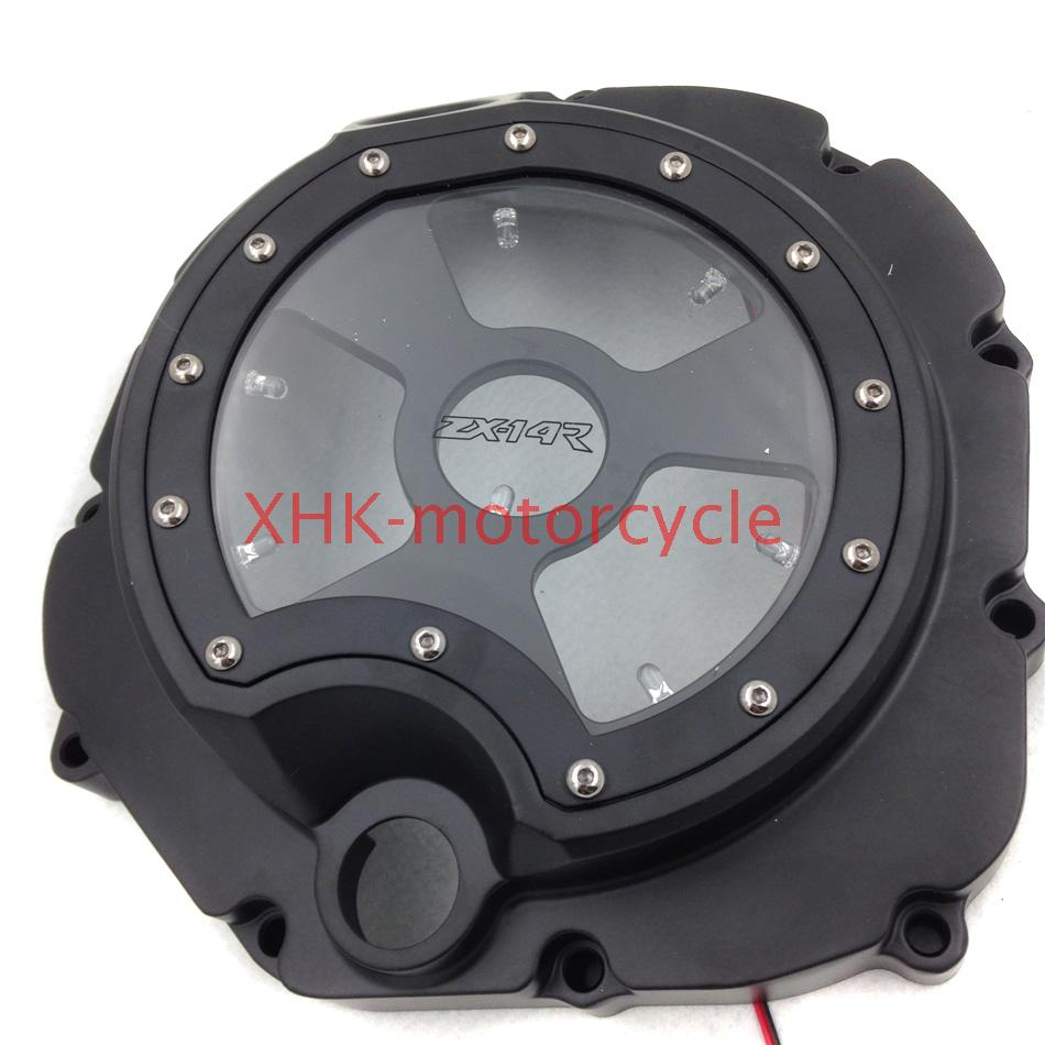 See through Engine Clutch Cover For Kawasa ZX14R ZZR1400 06-13 BLACK White LED cover cover pl44027 06