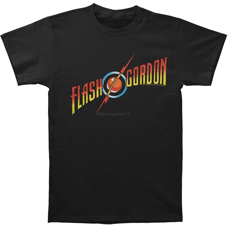 22bfe0b3d50 LEQEMAO свободные хлопковые футболки для мужчин крутые топы футболки флэш  Гордон-логотип Футболка размер S