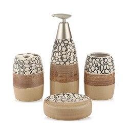 100% accesorios de baño de cerámica 4 piezas juego de regalo de baño juego de soporte de cepillo de dientes juego de vaso de jabón, incluyendo dispensador de jabón