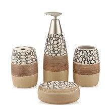 Conjunto de 4 piezas de accesorios de cerámica para baño de 100%, set de regalo para el baño, soporte para cepillo de dientes, vaso para jabón, incluye dispensador de jabón