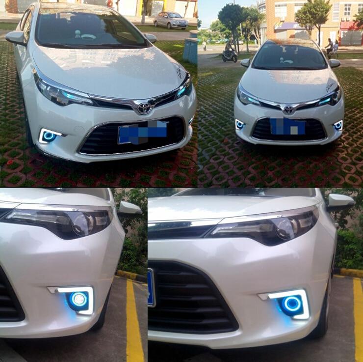 белый СИД DRL + cob ангел глаз (6 цветов) + H3 противотуманные лампы + объектив проектора для Toyota Левин