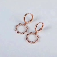 ANI 18k Rose Gold Women Dangle Earrings 0.26 ct Certified I/S1 Natural Diamond aretes Women Fine Jewelry Wedding Drop Earrings
