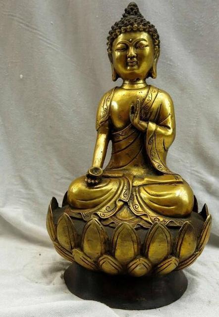 11 China Gilt Bronze Medicine Buddha On Lotus Flower Seat Sculpture