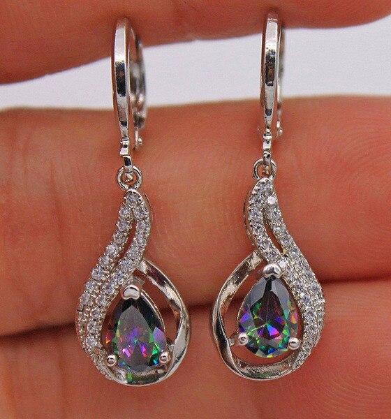 Cute Female Rainbow Water Drop Earrings Boho Silver Color Zircon Stone Earrings Crystal Long Dangle Earrings For Women