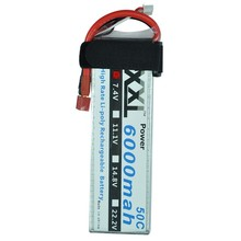 XXL rc Lipo Battery 7.4V 6000mAh 50C Max 100C 2S 2Cells 7.4Volt for Remote Control Models Helicopter Quadcopte, Drone
