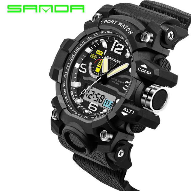 Мужчины Часы 2016 САНЬДА Топ Двойной Движение Спорт LED Силиконовые Водонепроницаемые СВЕТОДИОДНЫЕ Электронные Часы Для Мужчин Часы Цифровые часы