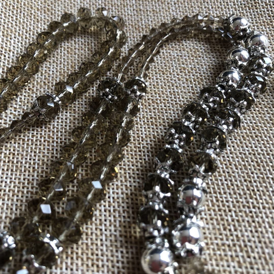 top fancy 8mm rhinestone crystal rosary necklace grey color religous rosary