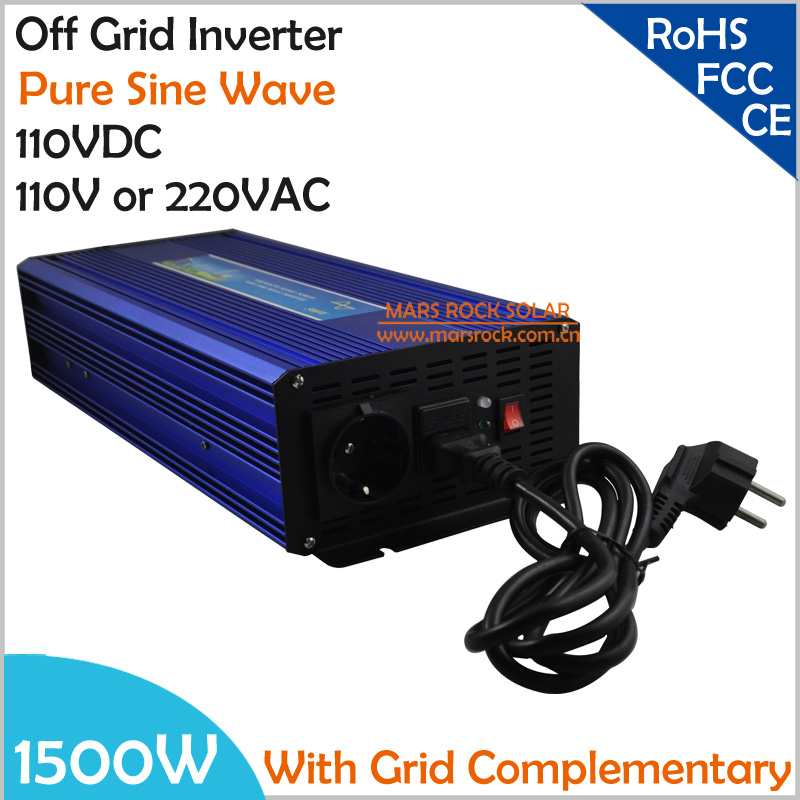 1500W DC110V AC110V/220V, Off Grid Pure Sine Wave Solar or Wind  Inverter, Ciry Electricity Complementary Power Inverter