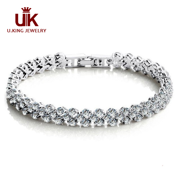 8119915e22b9 Summer Style Fashion 925 Sterling Silver Roman Holiday Shiny AAA Cubic  Zirconia Diamond Tennis Bracelet For Women Birthday Gift