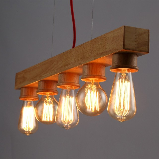 Vintage Holz Pendelleuchte E27 Edison Lampen Pendelleuchte Für Wohnzimmer  Esszimmer Dekoration Leuchte AC 90 260