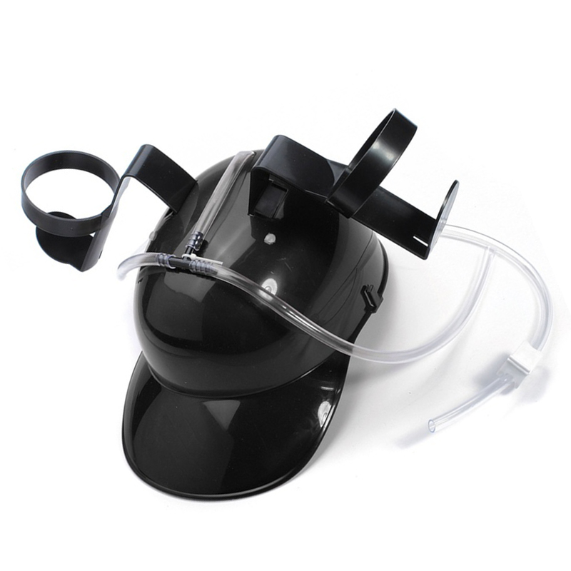 Adjustable Fun Unique Party Game Beer Soda Can Straw Holder Drinking Hard Hat Helmet Black