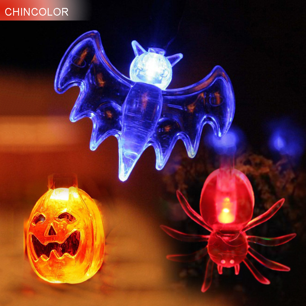 20Leds LED gaisma String Halovīni ķirbju spoku acs Ghost Spider Bat Skull Holiday gaismas 2M Party Props Fairy Decoration JQ