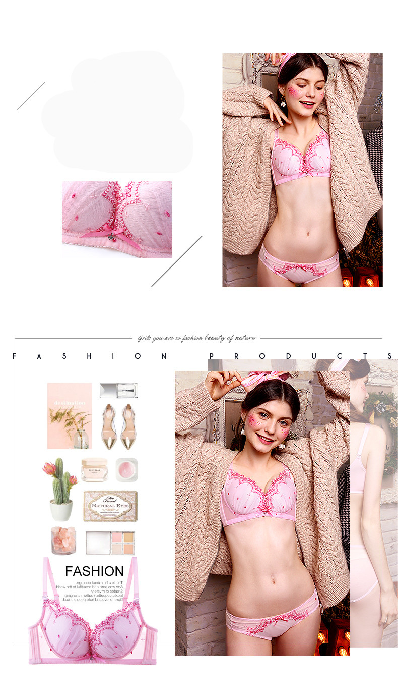 ebde07900520 Realwill Young Ladies Lingerie Bra Set Intimates Pink Gather Bra And Panty  Underwear Set 2017 Winter New Bra Set ...