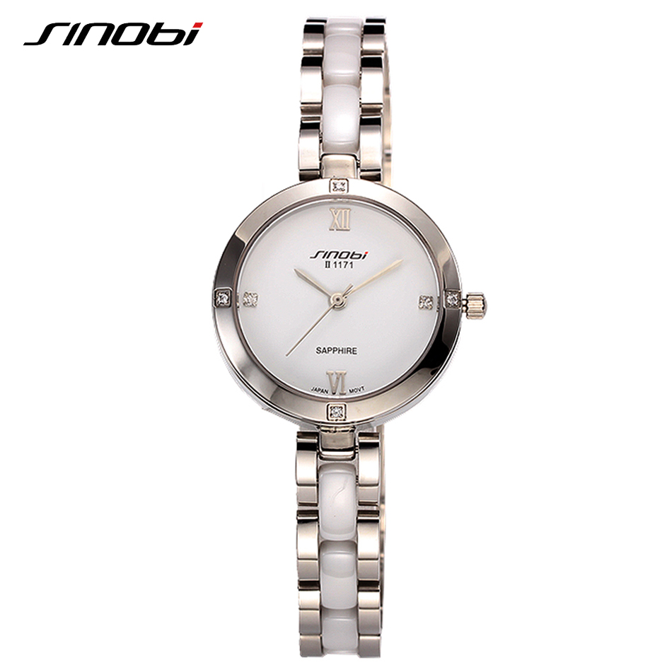 SINOBI Elegant Lady Dress Watch Women Brand Luxury Quartz Watch Ladies Bracelet Watches Female Clock 2018 Relogio Feminino #1171 sinobi ceramic watch women watches luxury women s watches week date ladies watch clock montre femme relogio feminino reloj mujer