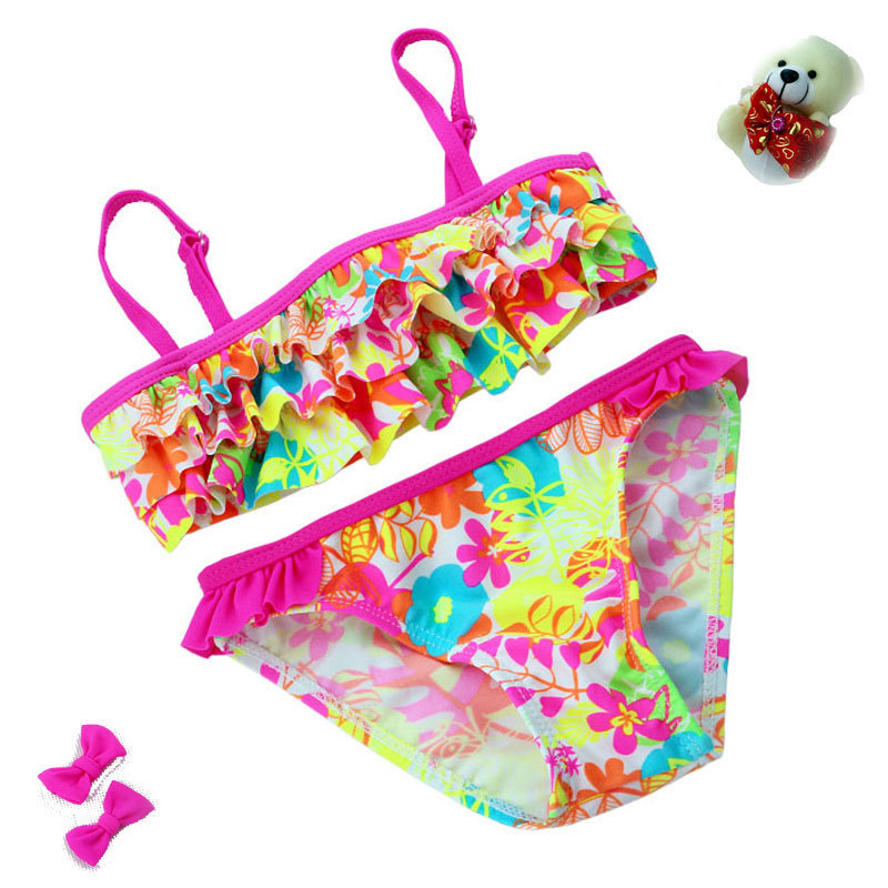 2018 New summer European and American Style Flowers Bikini Children's Swimwear Girls Split Bikini Kids Cake Layer Swimsuit
