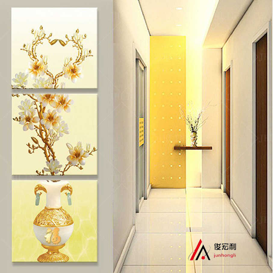 3 Stereoscopic gold vase and flower corridor canvas print oil paintinag print for living room modular picture on the wall Decor