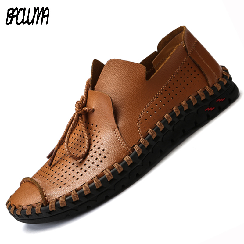 Men Summer Casual Shoes Luxury Brand Leather Men Driving Shoes Handmade Quality Men Loafer Shoes Flats Big Size 38-50 Moccasins
