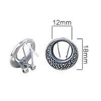 925 Sterling Silver Women Clip Earrings 12x12mm Round Cabochon Semi Mount Vintage Earrings DIY Stone
