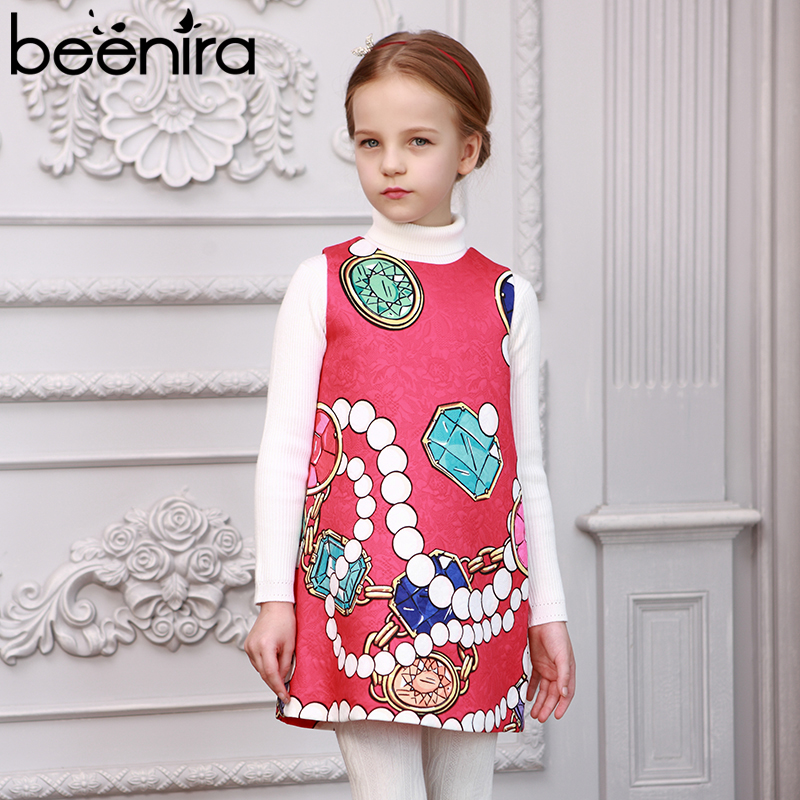 Beenira Girls Summer Dress 2017New Brand European And American Style Children Pattern Printed Party Dress Kids Clothes Dresses 100% real photo brand kids red heart sleeve dress american and european style hollow girls clothes baby girl clothes