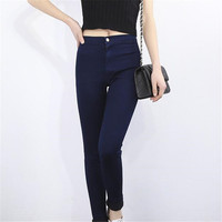 VISNXGI 2017 Fashion High Waist Women Jeans Stretch Skinny Jeans Female Calca Jeans Slim Pencil Pants