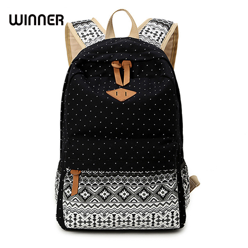 Canvas Printing Backpack Women School Backpacks Bag for Teenage Girls Vintage Laptop Rucksack Bagpack Female Schoolbag Mochila jmd backpacks for teenage girls women leather with headphone jack backpack school bag casual large capacity vintage laptop bag