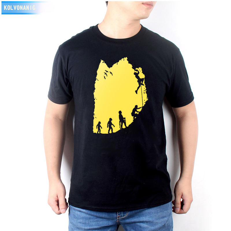 KOLVONANIG 2019 Summer New Climb Evolution Rock Climbing Print T Shirt Men Funny Brand Clothing Climbinger Plus Size Tee Shirts in T Shirts from Men 39 s Clothing