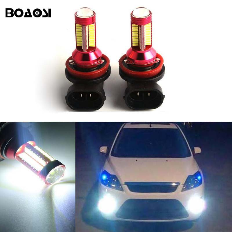 BOAOSI 2x H8 H11 Error Freee 4014 Cree Chips LED Fog Light DRL Bulb For FORD MONDEO MK3 MK4 C-MAX S-MAX FOCUS 01+ FUSION boaosi 1x h11 high power led light 4014 33smd 30w fog light driving drl car light no error for bmw e71 x6 m e70 x5 e83 f25 x3