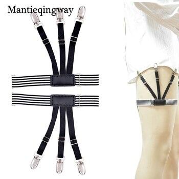 32aa83388a Mantieqingway moda negro camisa permanece ligas para hombres tirantes Caballero  elástico ajustable rayas Suspensorio cinturón