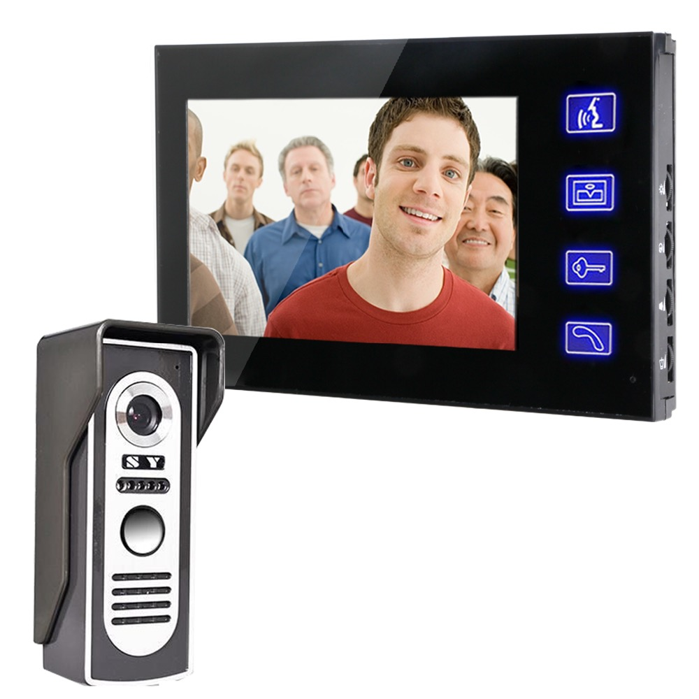 7'' TFT Color Video door phone Intercom Doorbell System Kit IR Outdoor Camera+Touch Indoor Monitor Screen Speakerphone 806M11 7inch video door phone intercom system for 5apartment tft lcd screen 5 flat indoor monitor with night vision cmos outdoor camera
