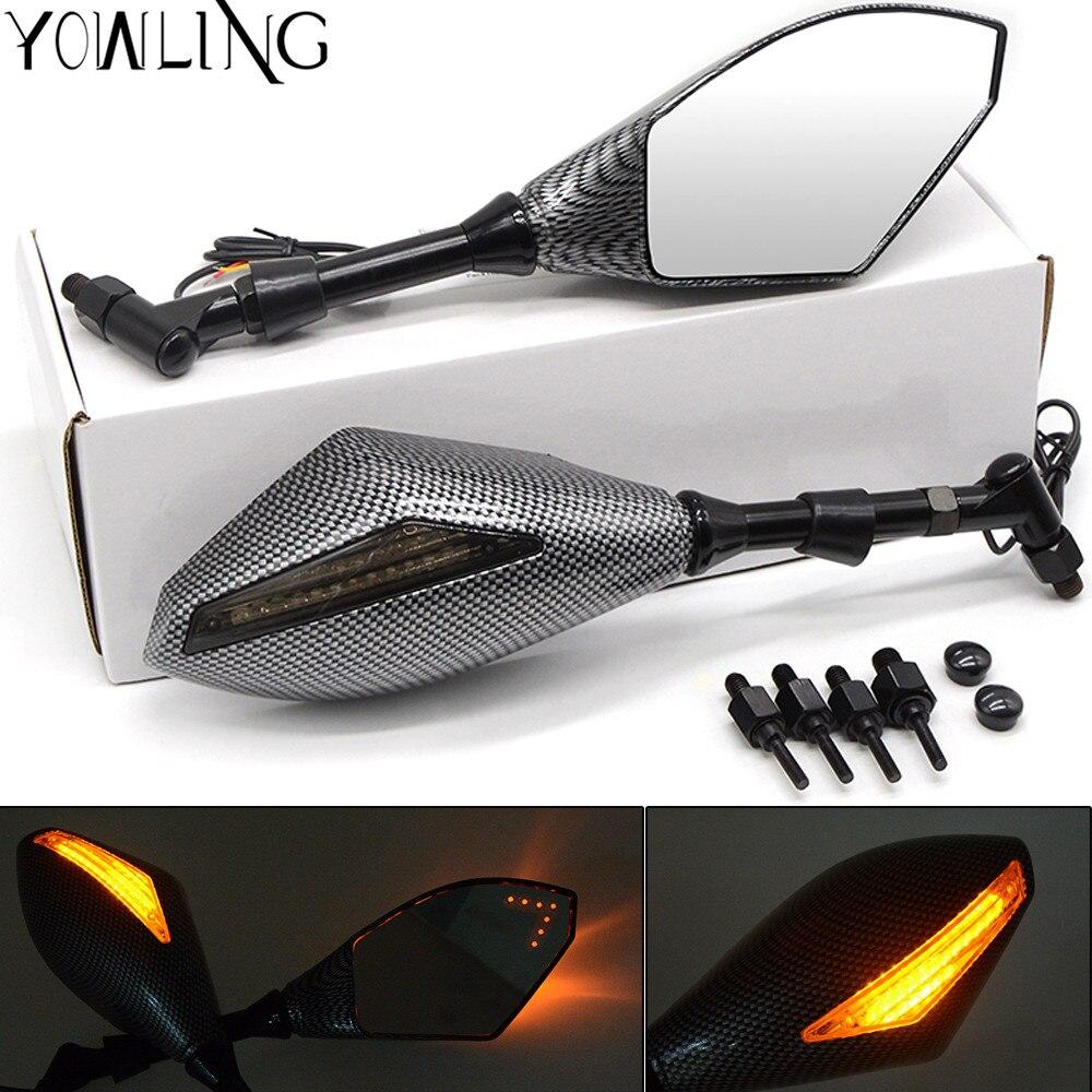 Carbon fiber 8MM 10MM Motorcycle LED Turn Signal Light Rearview Mirrors For Kawasaki z1000 z750 er-6f er-6n versys1000 ZX6R Z650 Указатель поворота