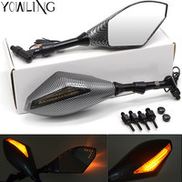 Universal Front And Back LED Carbon Fiber Motorcycle Integrated Turn Signal Light Side Racing Side Rear