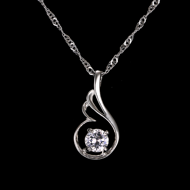 Emmaya Fashion Water Drop Shape Necklaces & Pendants White Gold Color zircon for