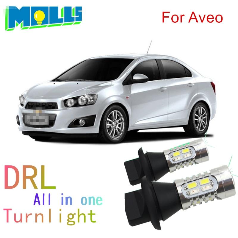 Молли для Шевроле Авео BAU15S PY21W светодиодные лампы рулевого управления передние поворотники свет и ДХО все в одном