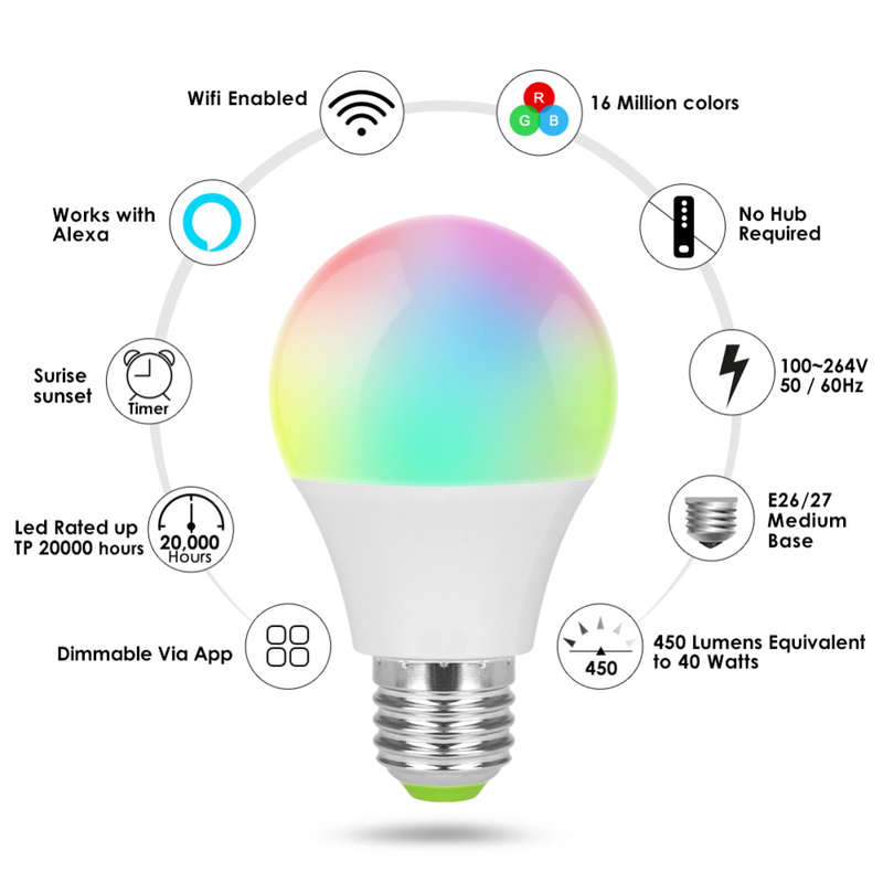 wifi smart light bulb dimmable multicolor wake up lights no hub required compatible with. Black Bedroom Furniture Sets. Home Design Ideas