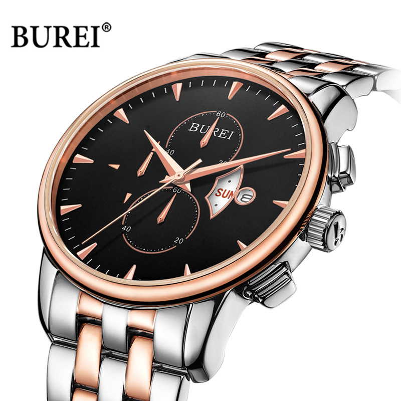 цены BUREI Brand Men Chronograph Watch Mens Waterproof Sapphire Crystal Army Military Quartz Wrist Watch Clock Men Relogio Masculino