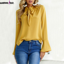 2017 Autumn winter New Women Blouse Shirt Chiffon Blouse Elegant Long Flare Sleeve Shirt Bow Tie Office Lady Wear Female Tops