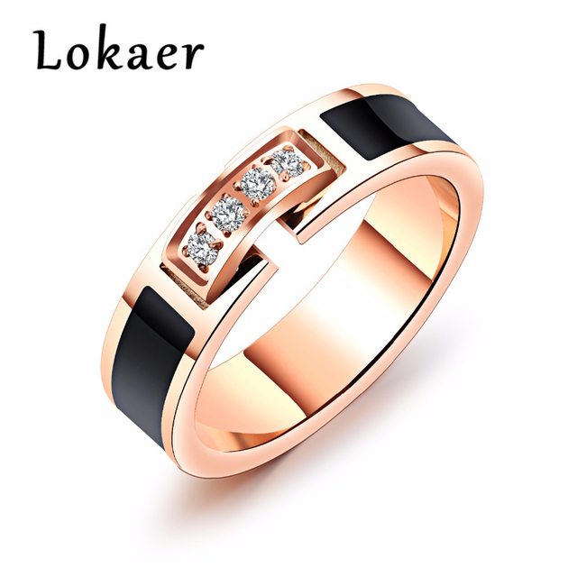 Lokaer Trendy Women Stainless Steel Wedding Ring Rose Gold Color Ring For Women AAA+ Cubic Zirconia Female Engagement Jewelry