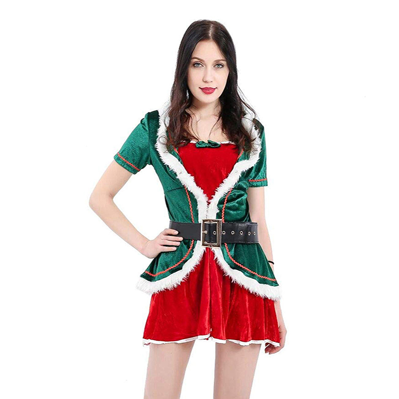 Women Elf Christmas Costumes with Waist  X-mas Festival Green  Costume for Adult