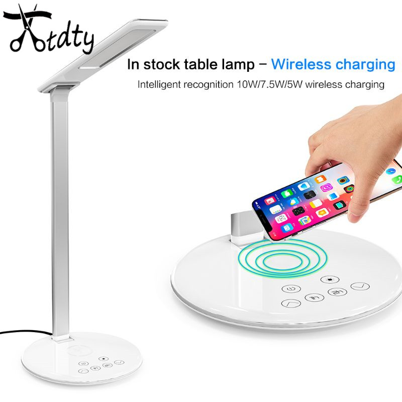 OOTDTY Multifunctional Foldable LED Desk Lamp Light Qi Wireless Charger Charging Pad Holder for iPhone for Xiaomi Mobile Phones
