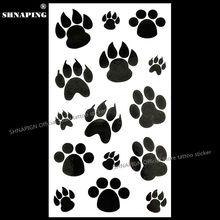 SHNAPIGN Black Puppy Footprints Temporary Tattoo Body Art Arm Flash Tattoo Stickers 17x10cm Waterproof Fake Henna Painless
